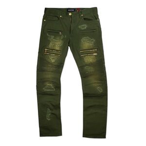 NWOT Makobi Green Moto Biker Jeans